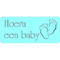 Etiket Hoera een baby blauw, rechthoekig