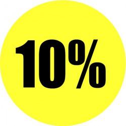 Gele actie sticker 10%