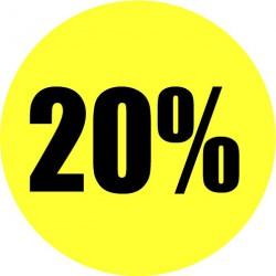 Gele actie sticker 20%