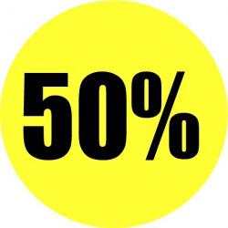Gele actie sticker 50%