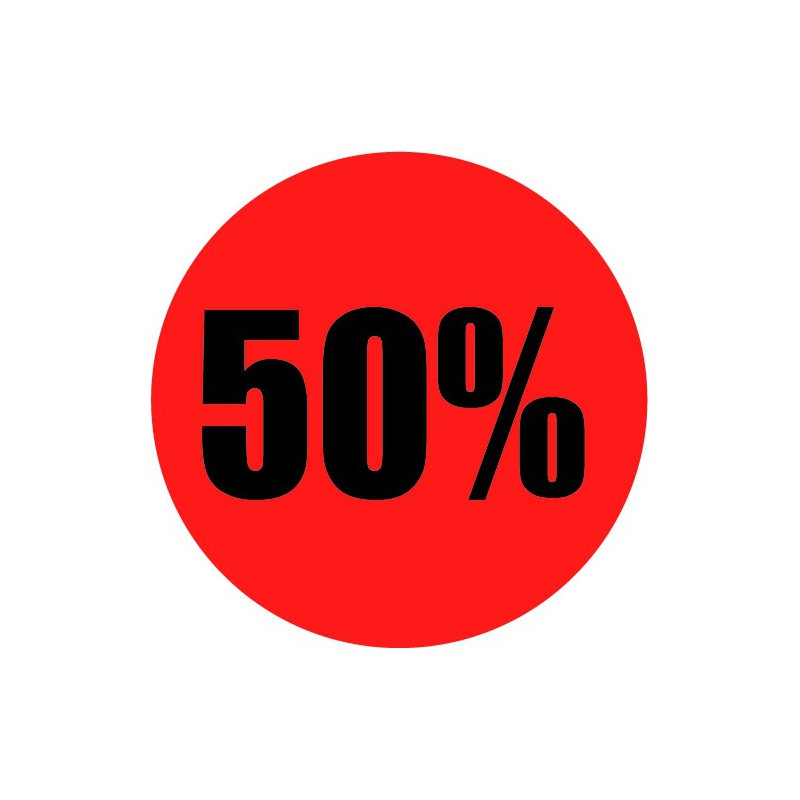 Rode actie sticker 50%