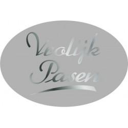 Etiket Vrolijk Pasen zilver, ovaal