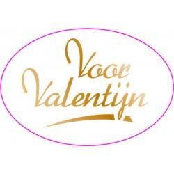 Etiket Valentijn in wit, ovaal