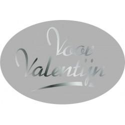 Etiket Valentijn zilver, ovaal