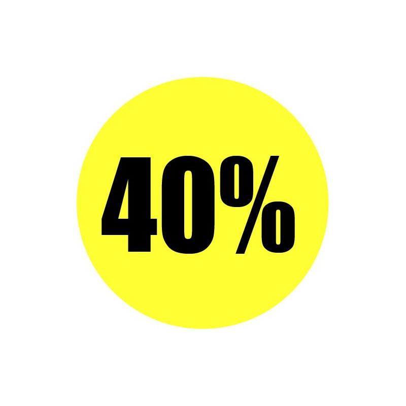 Gele actie sticker 40%
