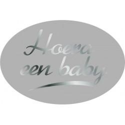 Etiket Geboorte zilver, ovaal